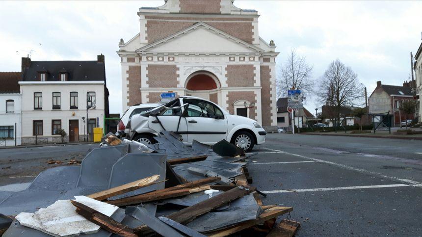 À Marchiennes, le toit de l'église s'est envolé avec la tempête Eleanor.