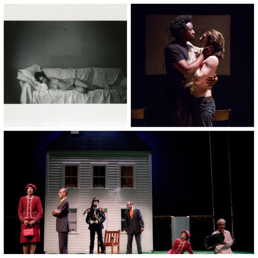 En haut à droite : La Maladie de la mort ; à gauche : Iliade et Odyssée ; en bas : La Cantatrice chauve