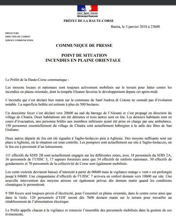 communiqué préfecture de Haute-Corse