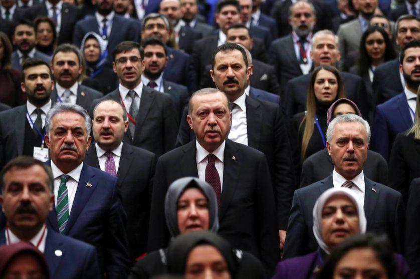 Recep Tayyip Erdogan au rassemblement du parti de l'AKP, Ankara, Janvier 2018