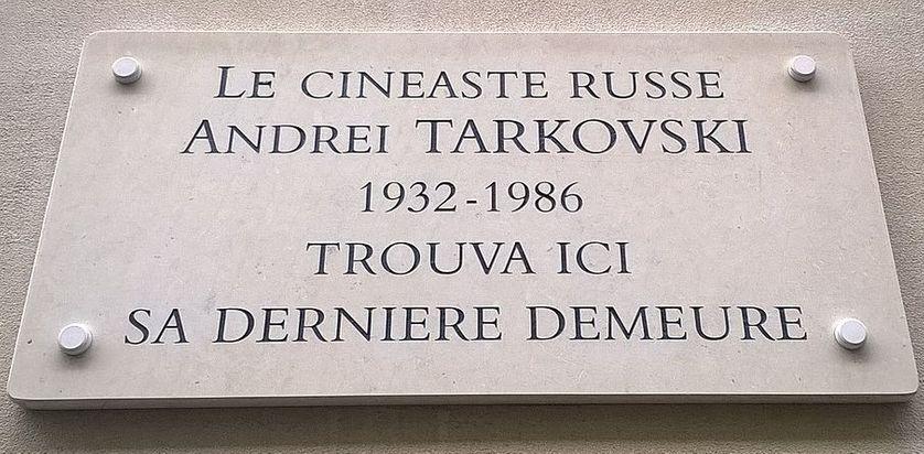 Plaque commémorative Andrei Tarkovski, à Paris 17ème