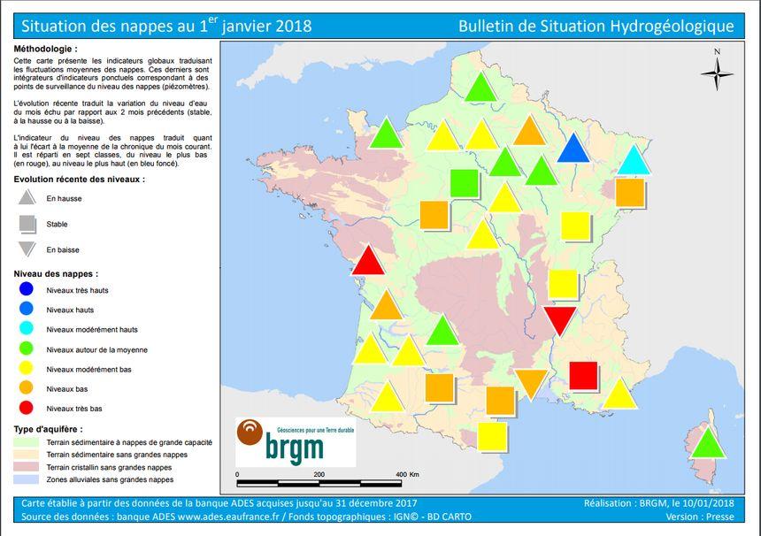 La carte de France de la situation des nappes phréatiques