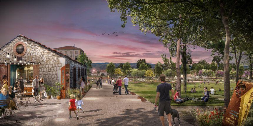 Esquisse du futur parc de la Cartoucherie à Bourg-les-Valence