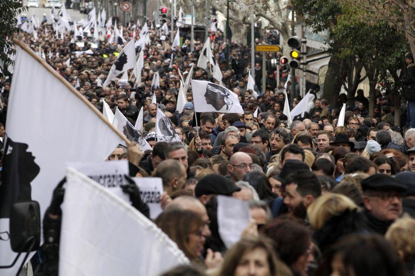 Manifestation initiée par les nationalistes corses, Ajaccio le 3 février 2018