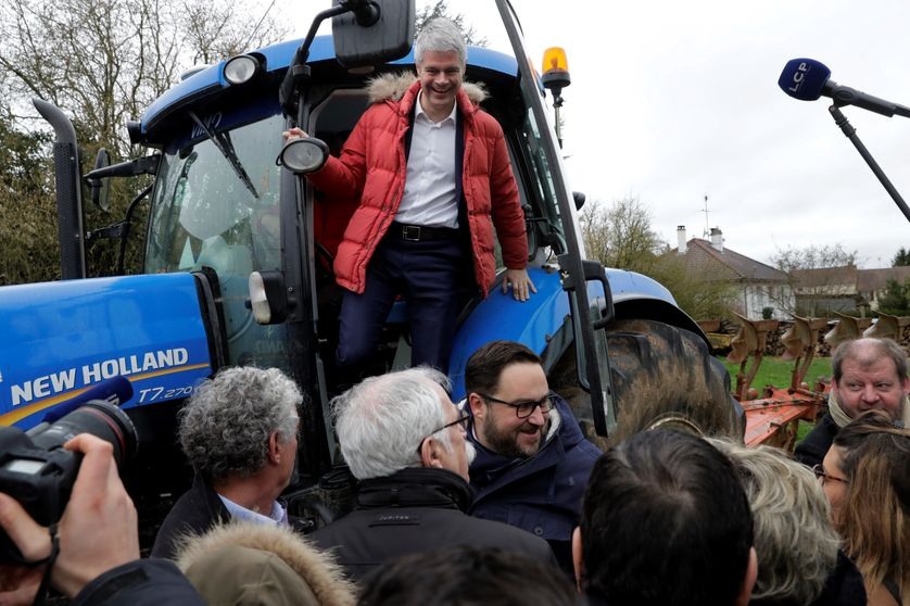 Laurent Wauquiez en visite dans une ferme d'Ile-de-France Janvier 2018