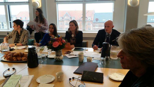 De gauche à droite, assis, les députés de la commission des lois Caroline Abadie, Naïma Moutchou, Yaël Braun-Pivet, Stéphane Mazars et Laurence Vichnievsky (au premier plan)