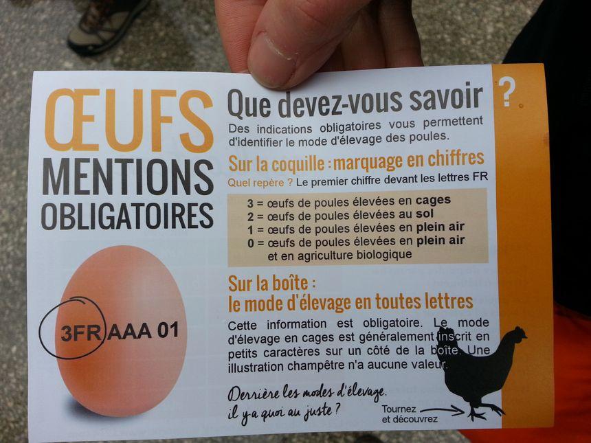Les militants L214 ont distribué des documents pédagogiques pour rappeler la notification des œufs - Radio France