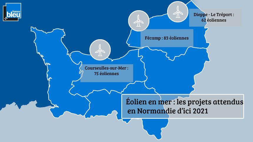 Plusieurs projets de parcs éoliens en mer sont prévus au large de la Normandie.
