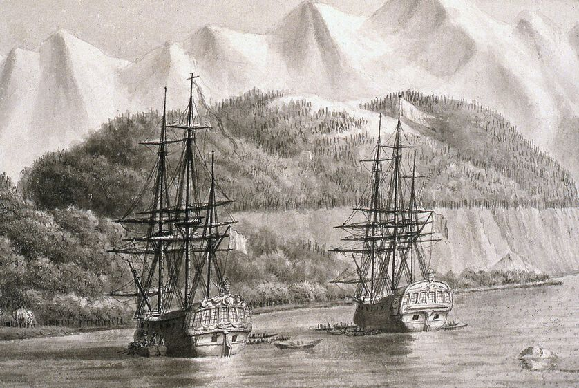 L'Astrolabe et la Boussole au mouillage probablement en Alaska en 1786