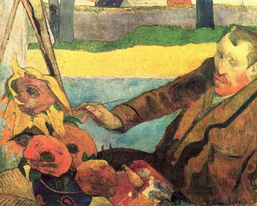 Van Gogh peignant des tournesols