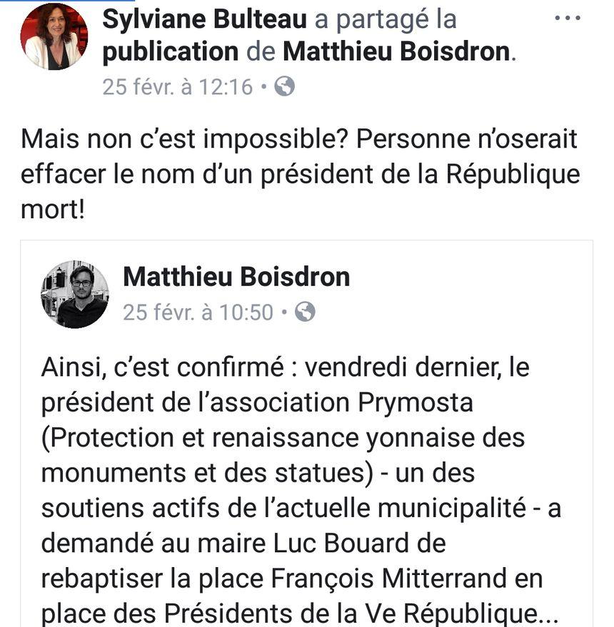 Réaction de la socialiste Sylviane Bulteau, sur sa page Facebook
