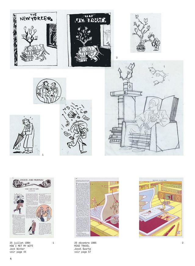 """Exemple de croquis préparatoire avant de trouver l'image dans le """"New York Book"""" de Joost Swarte"""
