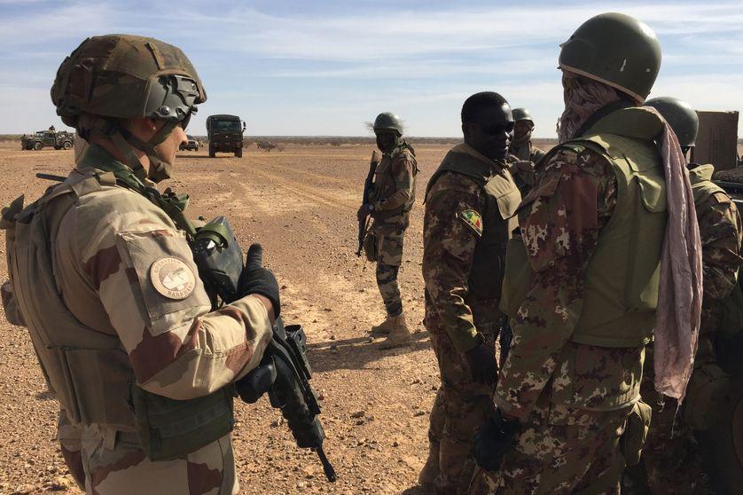 Des soldats maliens participant à la première opération militaire du G5 Sahel, l'opération Hawbi, en coordination avec les soldats français de l'opération Barkhane, le 2 novembre 2017.