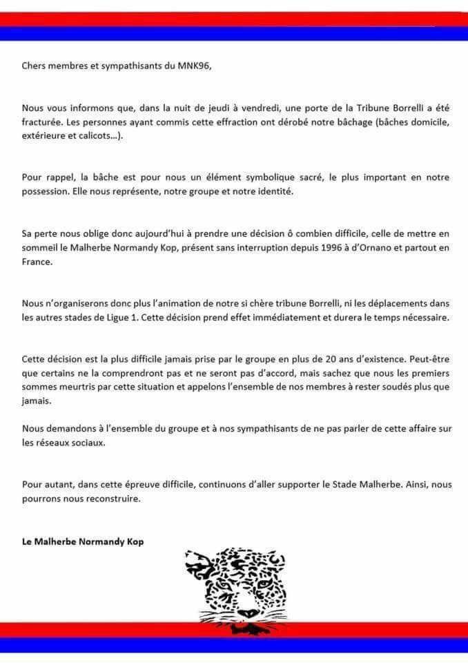 Le communiqué du Malherbe Normandy Kop à la suite du vol de plusieurs de ses bâches au stade d'Ornano.