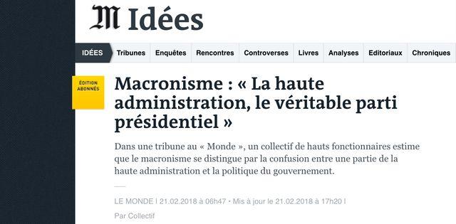 """Des hauts-fonctionnaires dénonçaient cette semaine, dans une tribune au """"Monde"""", la prise de pouvoir des administrations centrales dans l'appareil politique."""