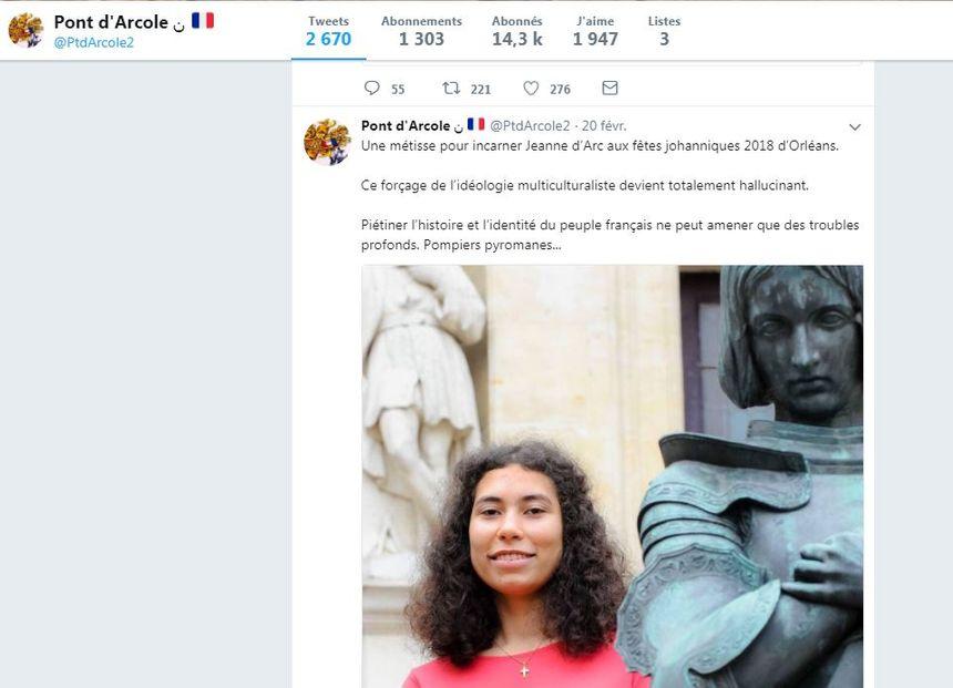 Un des nombreux tweets hostiles à la nouvelle Jeanne d'Arc