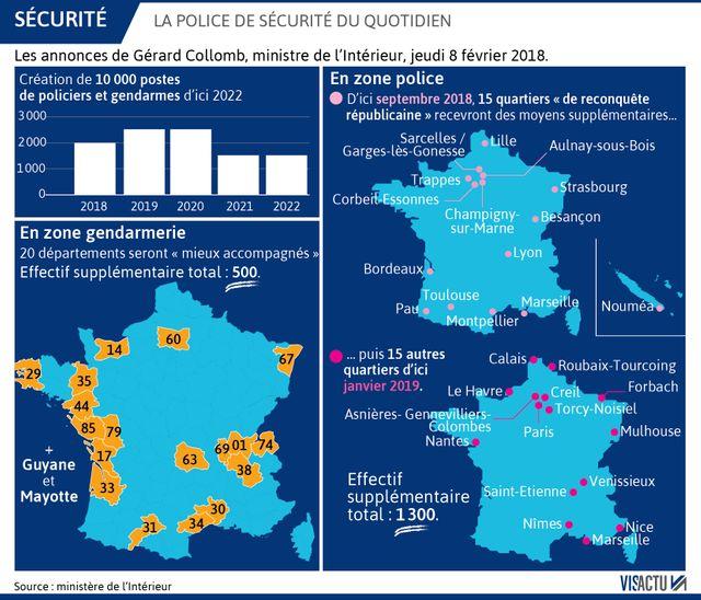 Police de sécurité du quotidien : les quartiers et départements sélectionnés