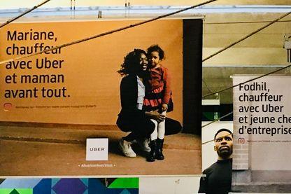 Publicités pour Uber (campagne pub gare Montparnasse)