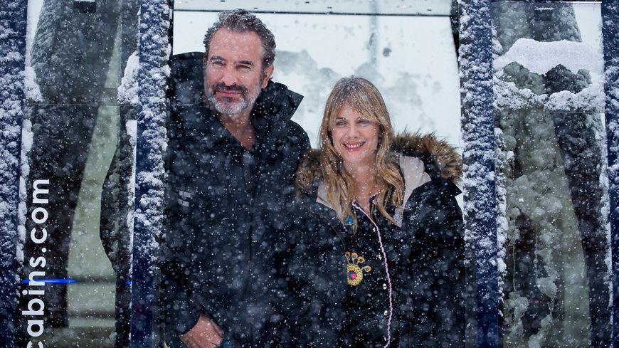 """Jean Dujardin et Mélanie Laurent à l'Alpe d'Huez pour l'avant-première de leur film """"Le retour du héros"""""""