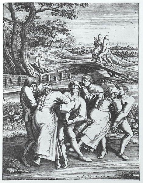 Gravure de Hendrik Hondius d'après Pieter Brueghel l'Ancien, montrant trois femmes affectées par la peste dansante