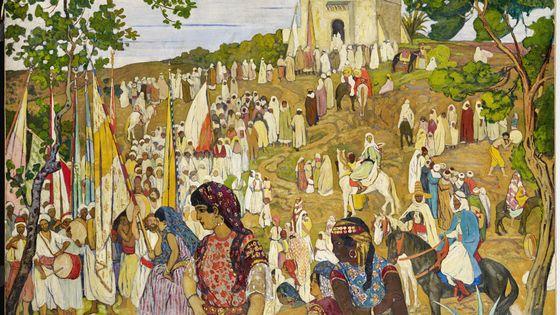 La Fête arabe dans la campagne de Tlemcen d'André Suréda, 1872 - 1930, Années 1910-1920,  Huile sur toile, 190 x 230 cm