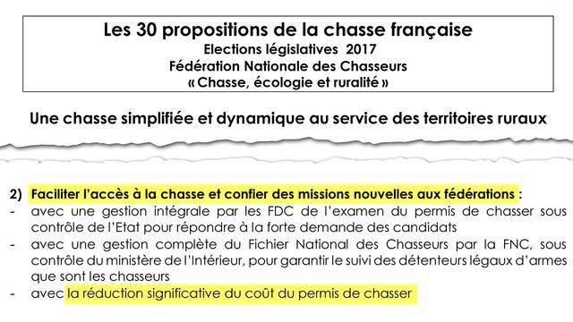"""""""Réduction significative du coût du permis de chasse"""". Point n°2 de la charte signée entre LREM et la FNC"""
