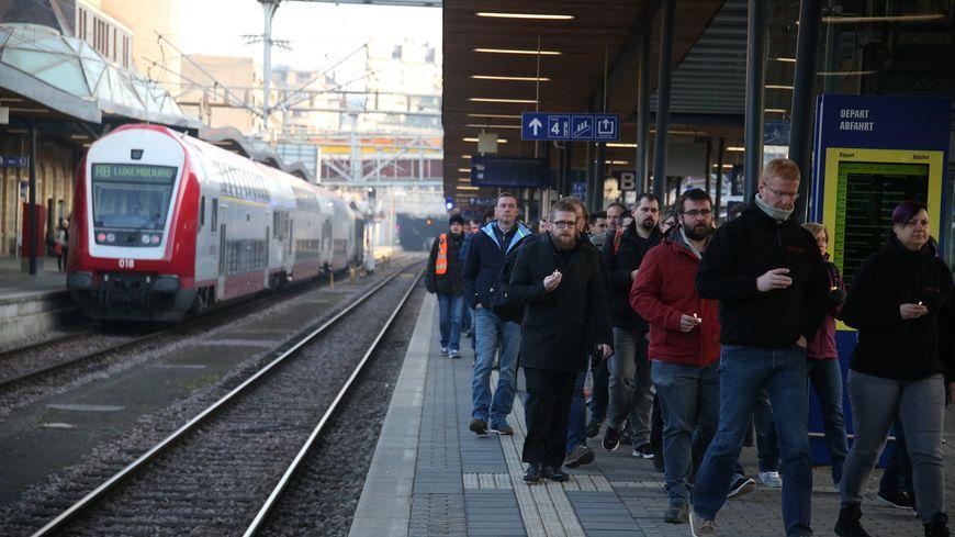 Arrivée d'un train en gare de Luxembourg