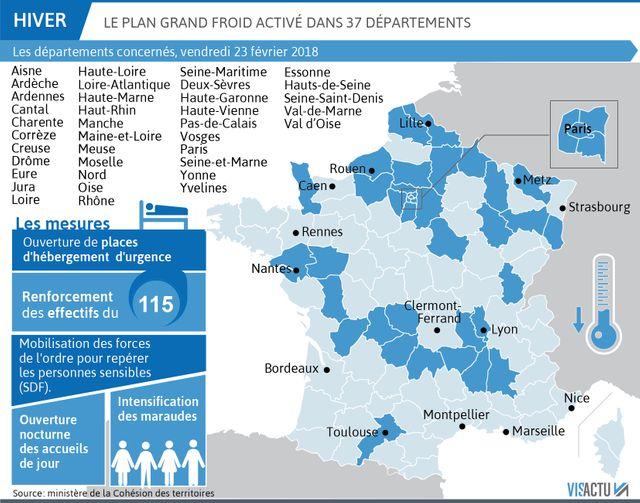 Le plan grand froid activé dans 37 départements