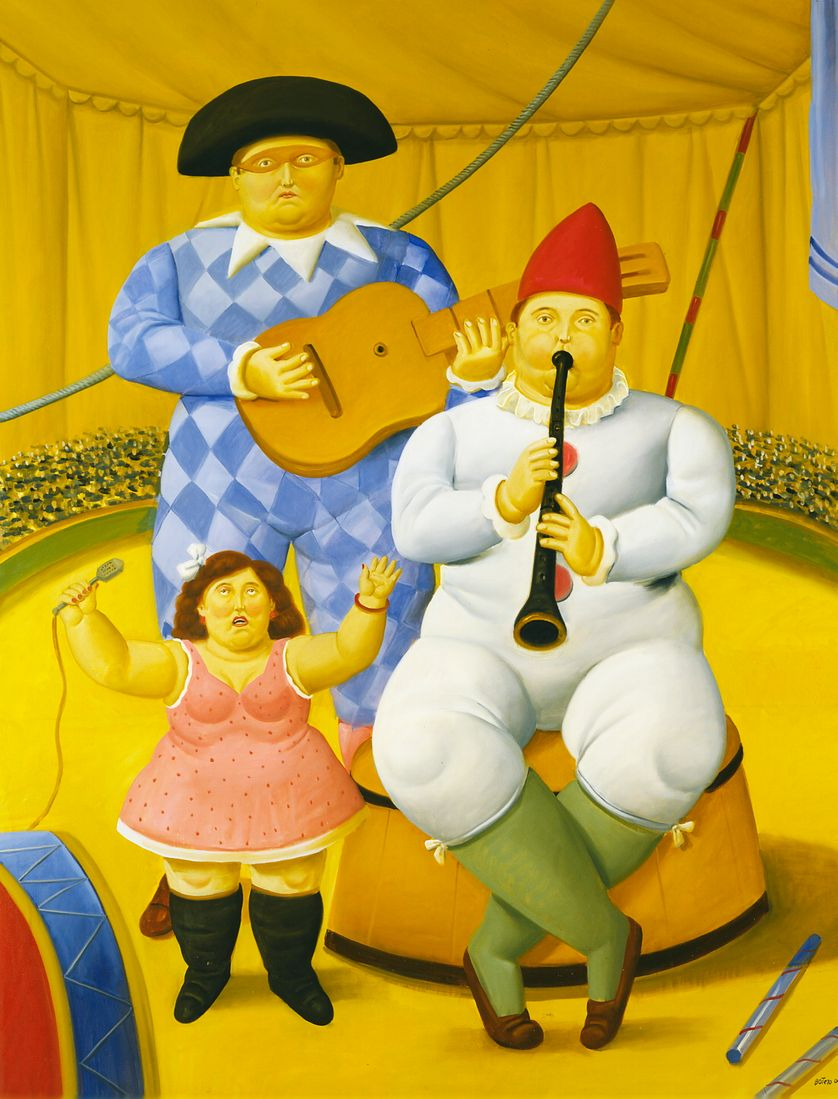 """Fernando Botero, """"Musiciens"""", 2008, Huile sur toile, 178 x 100 cm, Collection privée"""