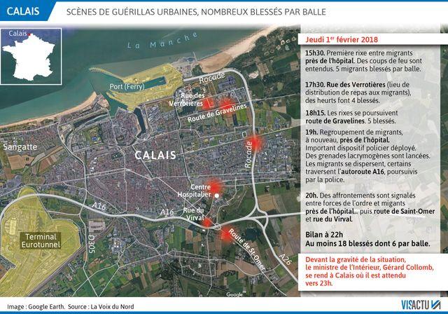 Scène de guérilla urbaine entre migrants à Calais