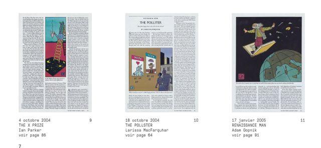 Détail d'une page du New York Book avec des exemples d'images de Joost Swarte dans Le New Yorker