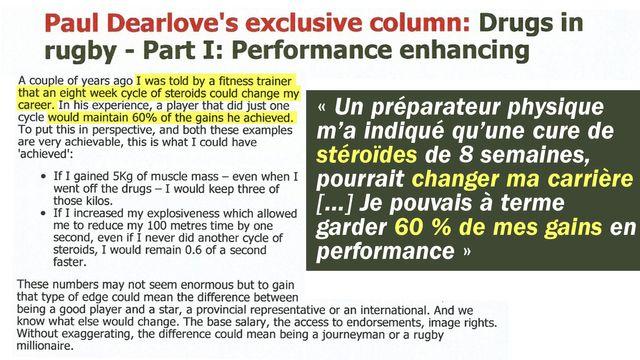 Extrait du blog de Paul Dearlove, sur lequel il affirmait avoir été incité au dopage.