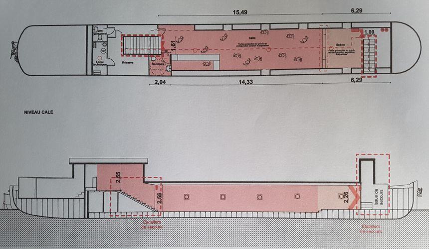 Dans plus de 60 m², la cale accueillera un bar, des expositions temporaires, des chaises, des tables et une scène.