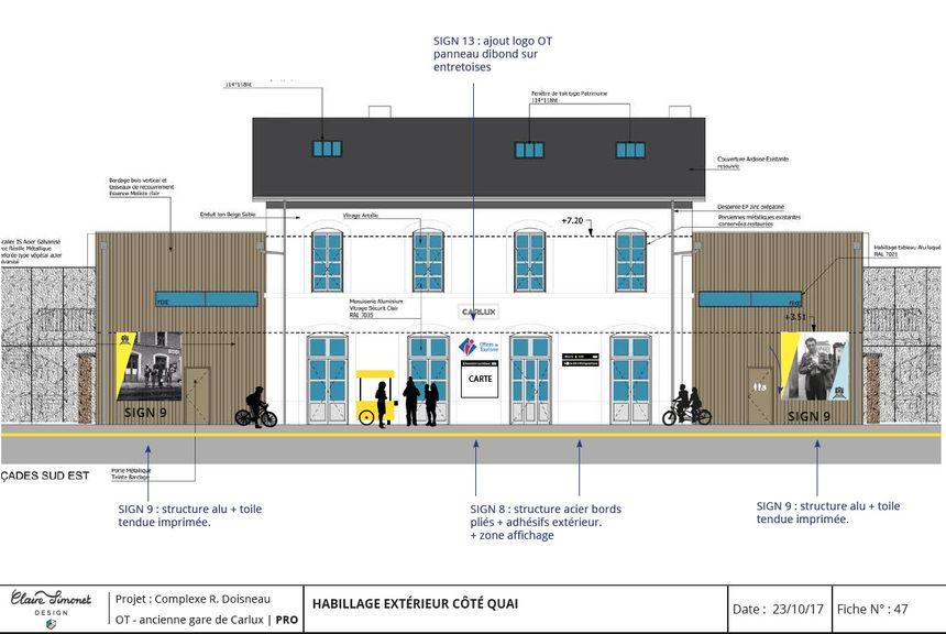 La future  façade de la gare de Carlux  Espace Robert Doisneau