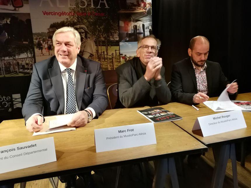 François Sauvadet, président du Conseil départemental, Marc Frot, président du Muséo Parc et Michel Rouger le directeur général lors de la conférence de presse de présentation de la nouvelle saison