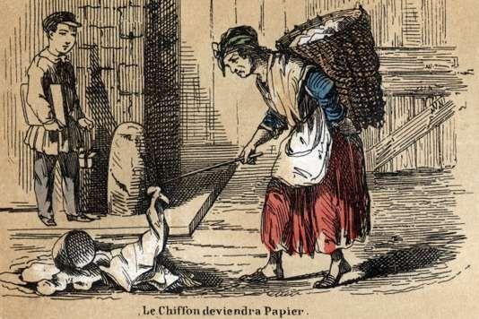 Une chiffonnière. Gravure de 1860.