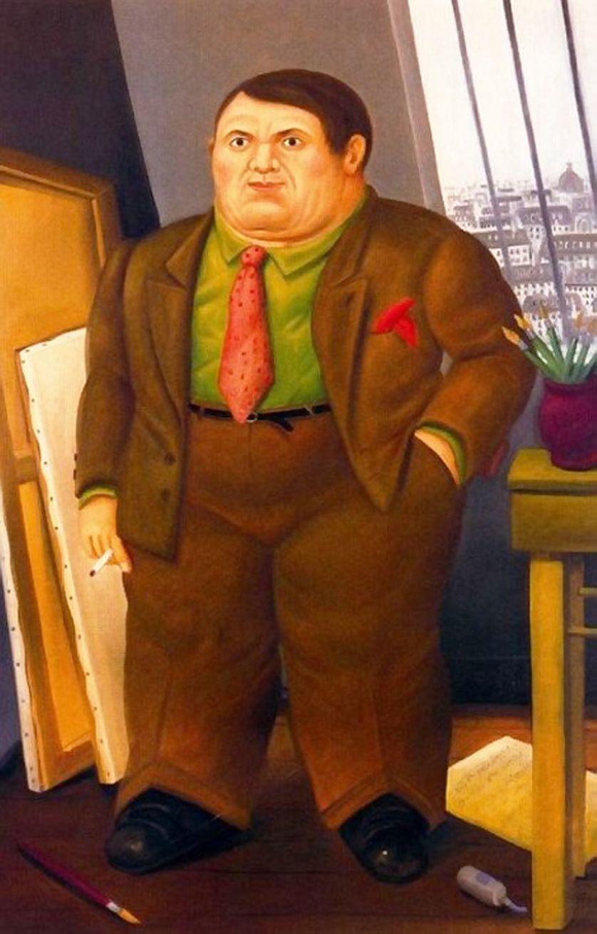 """Fernando Botero, """"Portrait de Picasso"""", 1998, Huile sur toile, 187 x 128 cm, Collection privée"""