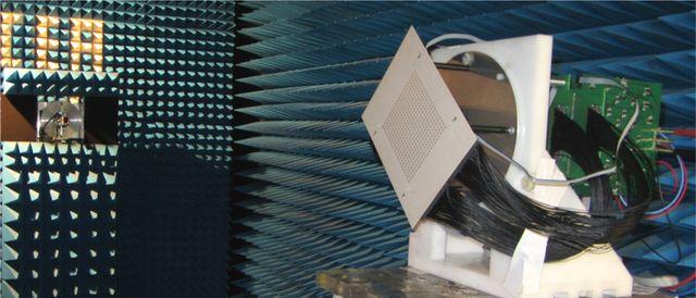 Test d'une antenne 5G en chambre anéchoide au CEA Leti