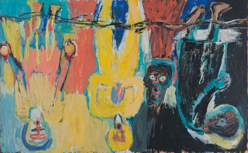 Der Brückechor, 1983 Le choeur Die Brücke Huile sur toile, 280 x 450 cm Collection privée © Georg Baselitz, 2018 Photo : © 2014 Christie's Images Limited