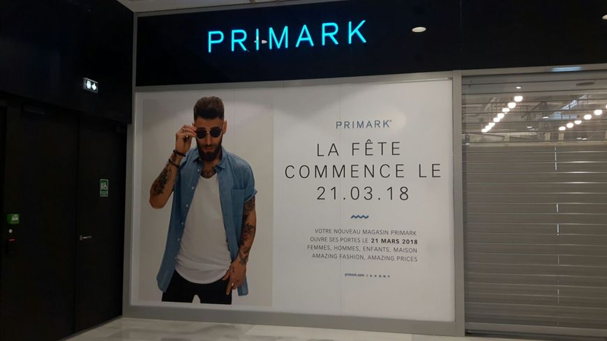 La devanture du futur magasin Primark au centre commercial Muse à Metz