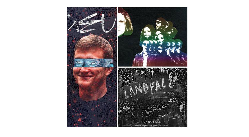"""A gauche : Vald et son album """"Xeu"""". A droite de haut en bas : """"Freedom's Gobelin"""" de Ty Segall et """"Landfall"""" de Laurie Anderson & Kronos Quartet"""
