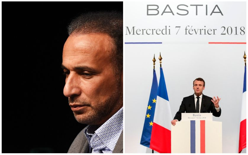 Tariq Ramadan en mai 2016 à Bordeaux / Emmanuel Macron à Bastia le 7 février 2018