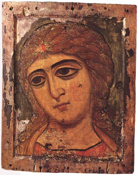Icône de l'ange aux cheveux d'or ou l'archange Gabriel provenant de Novgorod (XIIe siècle)