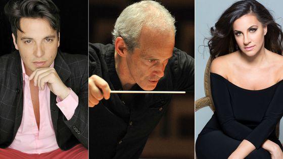 De gauche à droite : Santiago Ballerini, tenor - Paul Daniel, chef d'orchestre et Joyce El Khoury, soprano