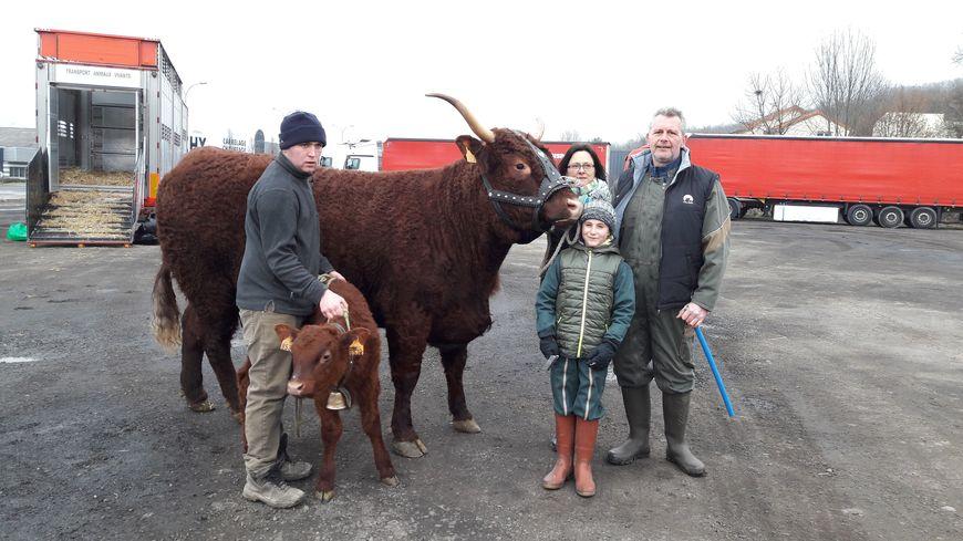La vache Harmonie et son veau, avec la famille Cormier