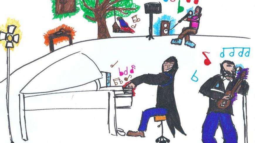 dessins sur le Jazz réalisés par des élèves de l'école élémentaire Jean Michenot de Fouras.