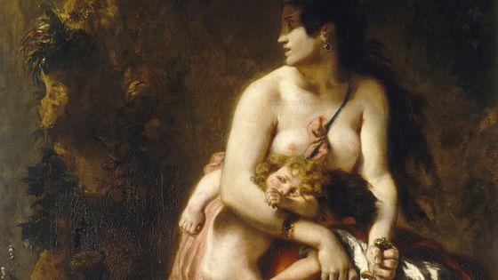 Médée, furieuse, peinture d'Eugène Delacroix (détail)