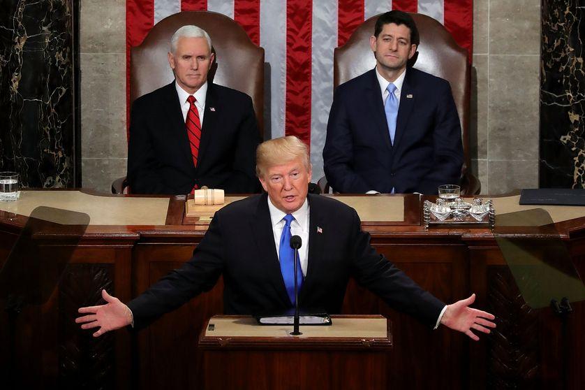 Donal Trump pendant son discours sur l'état de l'Union. 30 janvier 2018