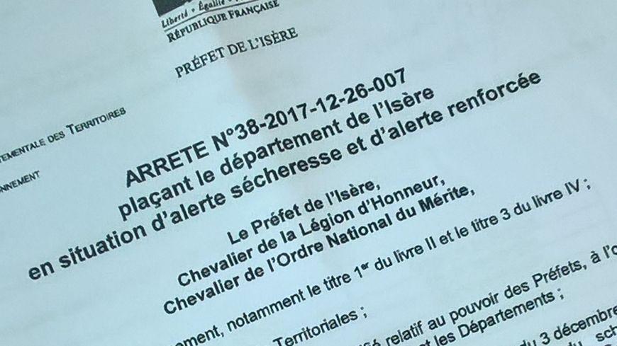 """Un arrêté Préfectoral """"sécheresse"""" est toujours en vigueur en Isère"""