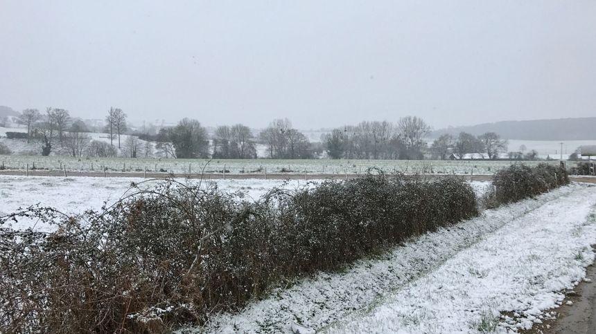 Le Nord Mayenne sous la neige.